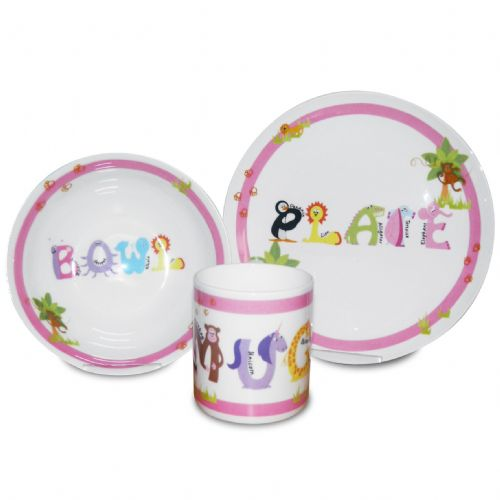 Personalised Pink Animal Alphabet Breakfast Set
